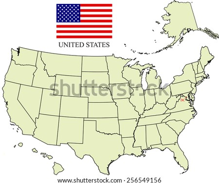 USA map with US flag and the capital name, Washington DC - stock vector