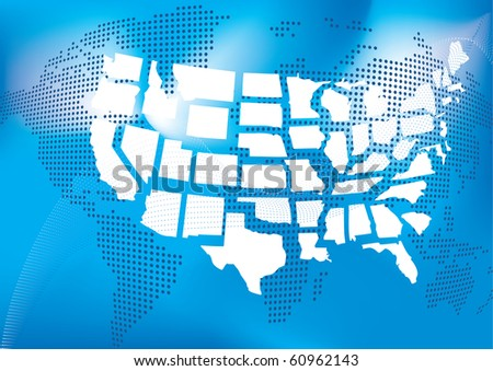 USA map with world map in dots in background - stock vector