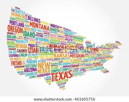 Set Infographic Usa Maps Word Stock Vector Shutterstock - Us word map