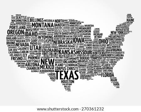 USA Map word cloud with most important cities - stock vector