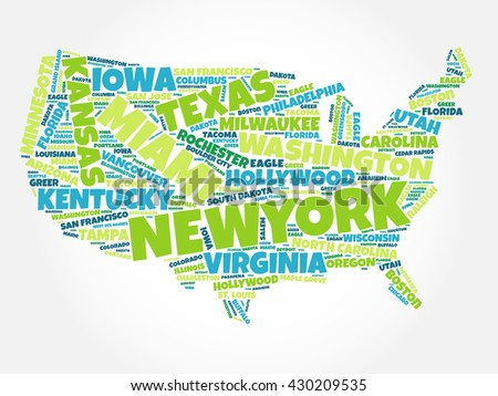 Usa map word cloud most important vectores en stock 430209535 usa map word cloud with most important cities gumiabroncs Choice Image
