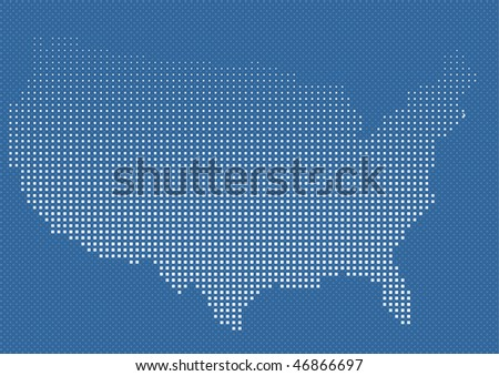 USA or us american map in halftone. - stock vector
