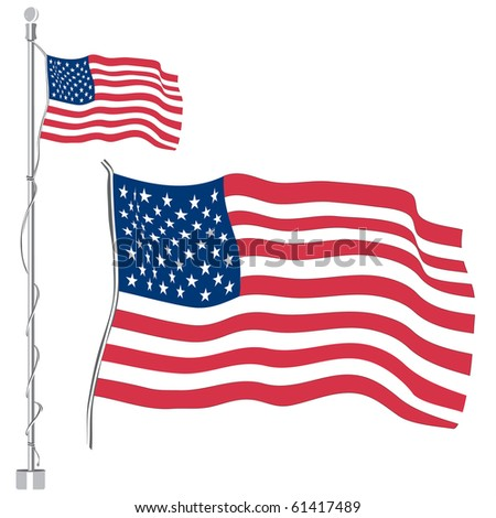USA or US flag with stripes and stars