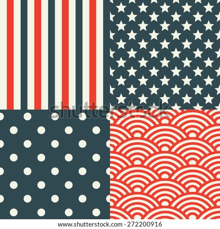 USA Patterns. Patriotic red, white and blue geometric seamless patterns.