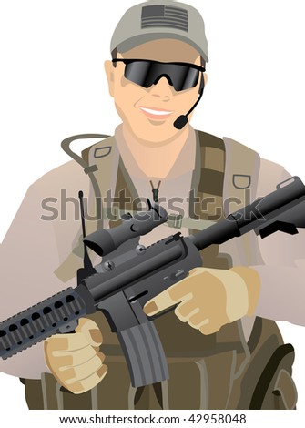USA Private Military Contractor in desert uniform - image is separated into layers for easier editing - stock vector