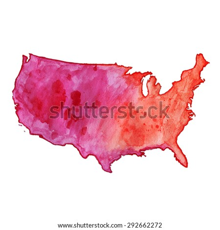 USA red watercolor vector map, US watercolor vector map, United States of America watercolor vector map - stock vector