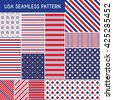 USA seamless patterns. Vector illustration for america design. 4th of July United Stated independence day. Fourth of July greeting card, banner, background. Navy, red. Patriotic stripe star set - stock vector