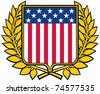 USA shield and laurel wreath (american patriotic symbol) - stock photo