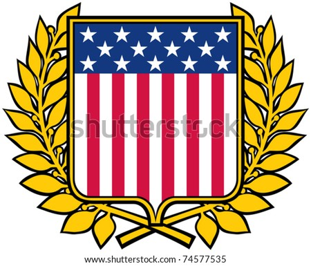 USA shield and laurel wreath (american patriotic symbol) - stock vector