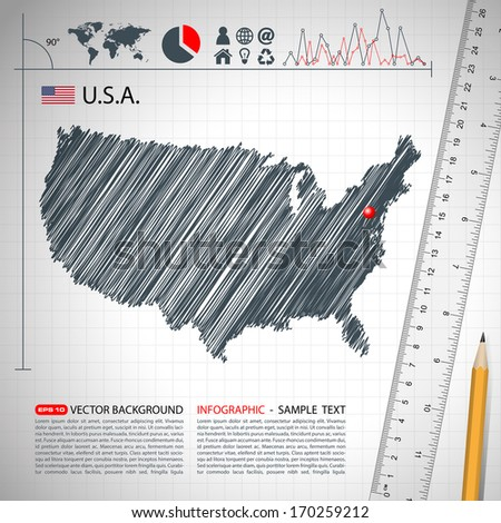 Usa Sketch map infographic in vector format - stock vector