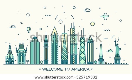 USA skyline, detailed silhouette. Welcome to America trendy vector illustration, linear style - stock vector