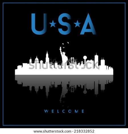 USA skyline silhouette vector design on black background. - stock vector