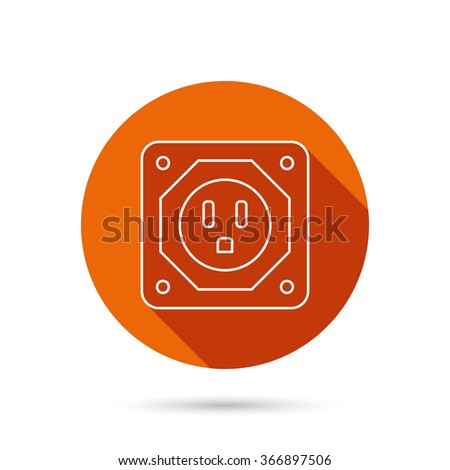 USA socket icon. Electricity power adapter sign. Round orange web button with shadow.