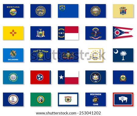 Usa State Button Flag Collection-Part 2 - stock vector