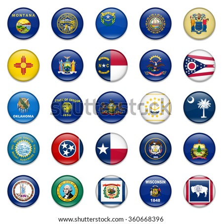 USA State Button Flag Collection Part 1