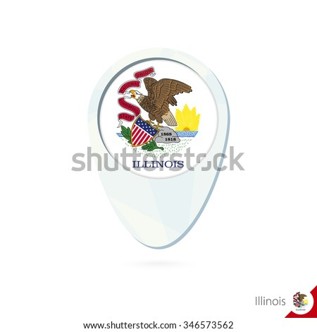 USA State Illinois flag location map pin icon on white background. Vector Illustration. - stock vector