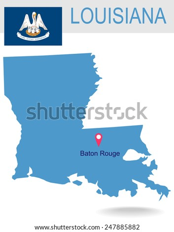 USA state Of Louisiana's map and Flag - stock vector