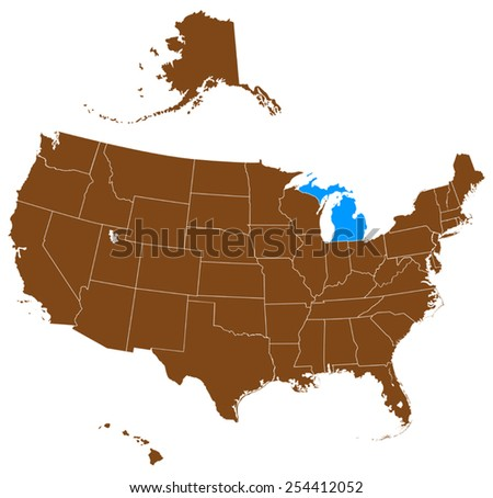 USA state Of Michigan map - stock vector