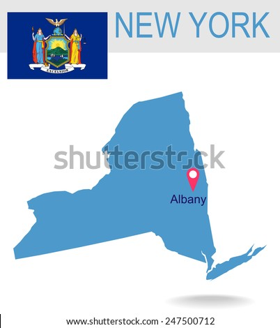 USA state Of New York's map and Flag - stock vector