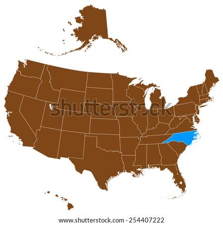 USA state Of North Carolina map - stock vector