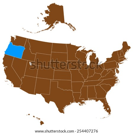 USA state Of Oregon map