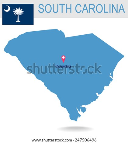 USA state Of South Carolina's map and Flag - stock vector