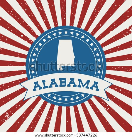 USA State on a badge, retro style - stock vector