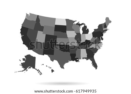 Usa States Map Isolated Infographic Blank Stock Vector - Blank us map vector