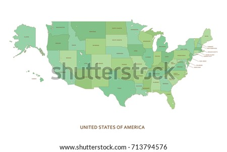 Usa United States America Political Map Stock Vector - Map usa states