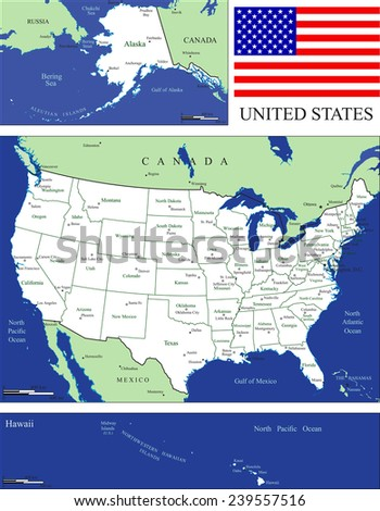 USA states with capitals, scales, and US flag - stock vector