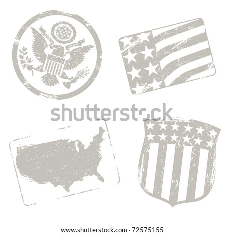 USA travel stamps - stock vector