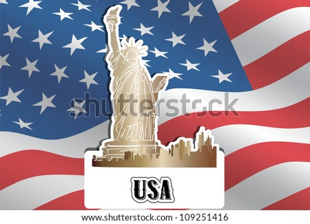 USA, United States of America, American Flag, Statue of Liberty, New York City, vector illustration - stock vector