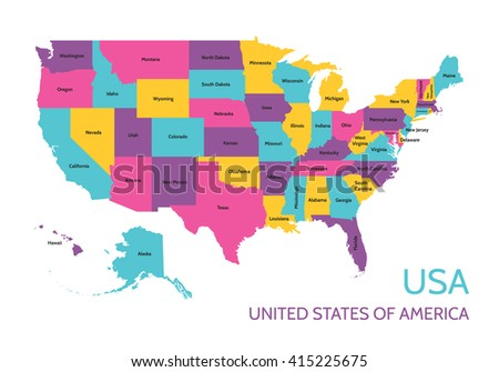 Usa United States America Colored Vector Stock Vector - Map of states of america