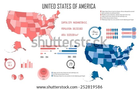 Usa Us Map Infographic Elements Basic Stock Vector - Basic us map