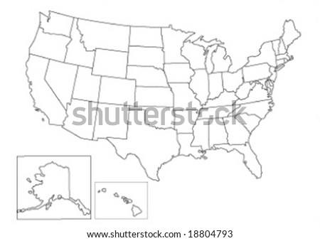 usa vector map - stock vector