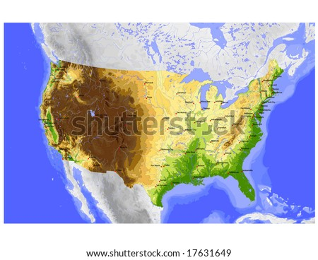 USA. Vector map of the conterminous USA, colored for elevation, with state capitals and cities greater 600,000. Surrounding territory greyed out. 36 layers, fully editable. Data source: NASA - stock vector