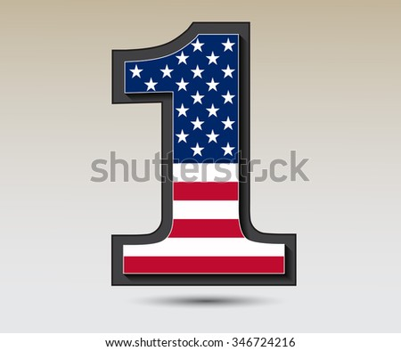 USA vector symbol.Number one with USA flag. - stock vector