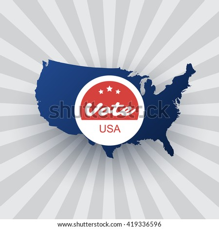 USA Voting Design Concept with Map - stock vector