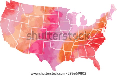 Line Art Usa Map : Usa watercolor vector map stock shutterstock