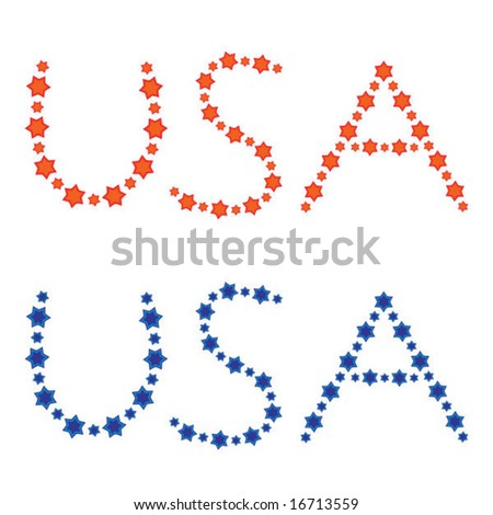 USA written in stars in red and blue (vector) - stock vector