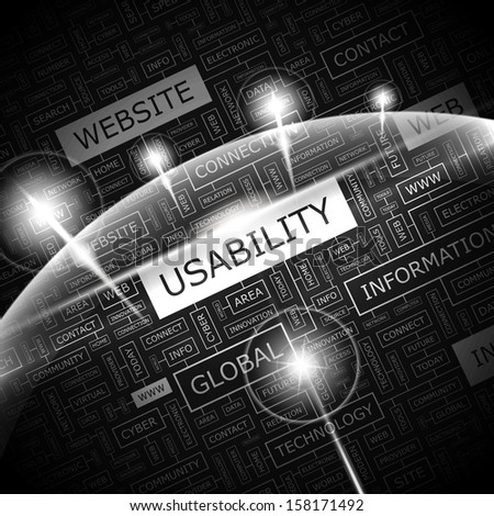 USABILITY. Word cloud concept illustration. Graphic tag collection. Wordcloud collage with related tags and terms.  - stock vector