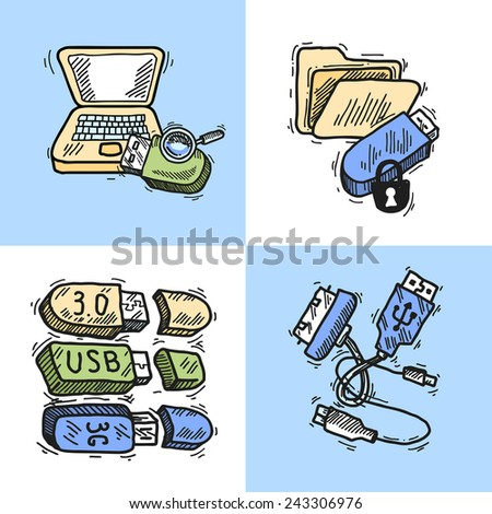Usb and computer data transfer technology sketch design concept set isolated vector illustration - stock vector