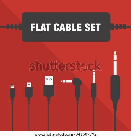 USB and JACK cable set. Vector plug icons - stock vector