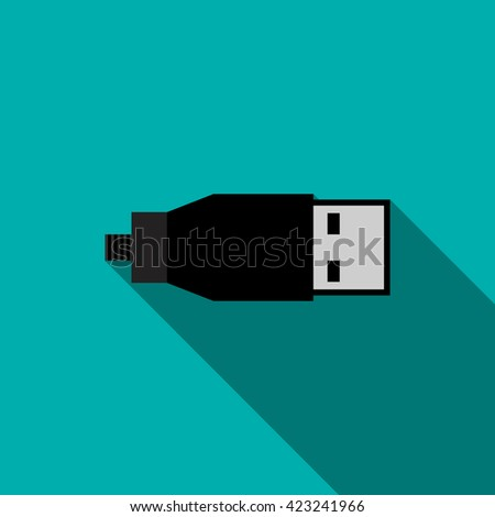 USB cable icon in flat style - stock vector