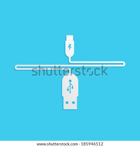 USB cable is white, isolated on a blue background for your design, vector illustration - stock vector