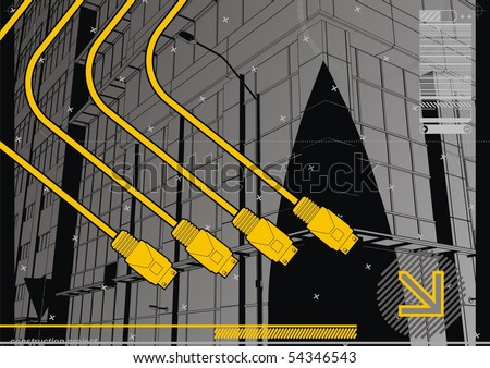USB Cityscape. Funky design template for the digital age. - stock vector