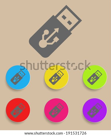 USB Flash drive vector icon with color variations - stock vector
