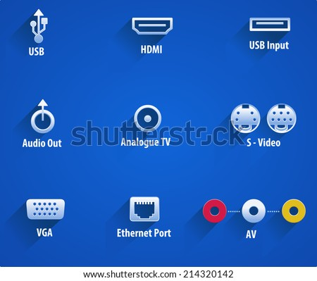 usb, hdmi, audio, analouge, s-video, vga, Ethernet video ports - vector eps10 - stock vector