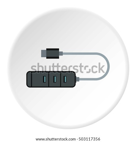 Usb hub icon. Flat illustration of usb hub vector icon for web