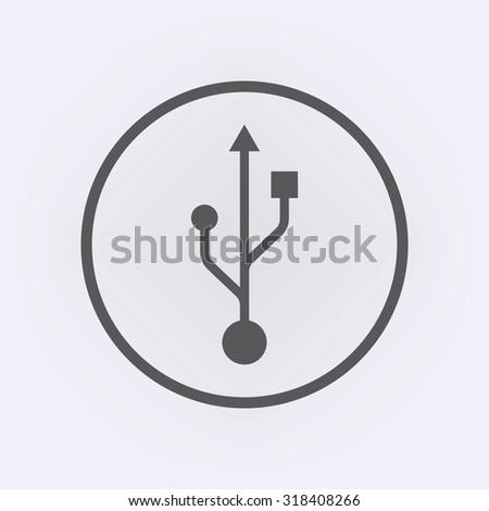 Usb icon in circle . Vector illustration - stock vector